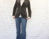 Vintage 60s Victorian Floral Velvet Blazer Jacket Mod Boho Steampunk