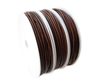 Leather Cord : 20 feet Saddle Brown 2mm Leather Jewelry Cord ... Great for necklaces & bracelets -- 015-1
