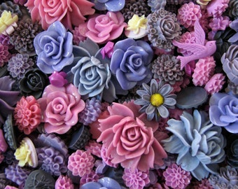 Resin Flower Cabochons : 20 Gorgeous Shades Of Purple Blooming Baubles -- (Sizes from 7mm to 40mm)
