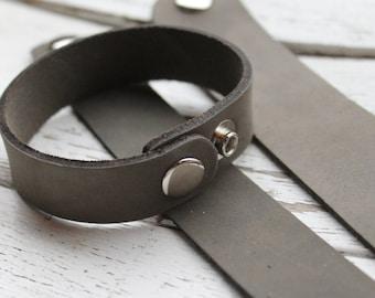 """1.25"""" Leather Bracelet Cuff - 1.25 Inch Wide Genuine Leather Cuff Bracelet in DISTRESSED GREY - Cuff Wristband - ONE Cuff"""