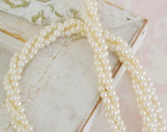 Vintage Necklace with Twisted Small Faux Pearls