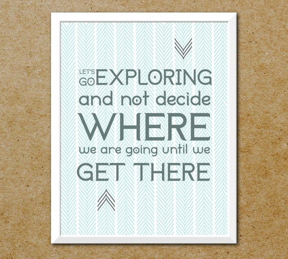 Adventure Travel Print 11x14 Let's Go Exploring Typography Art - Wilderness Explore Nautical - For Camper, Traveler - Free Shipping