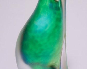 Vintage Signed Hand Made Emerald Green Contemporary Art Glass Polar Bear Paperweight, Art Glass Polar Bear, Signed Art Glass, Polar Bear
