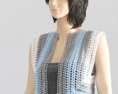 Crocheted Blue striped bolero- shrug- vest Crochet Hippie halter top
