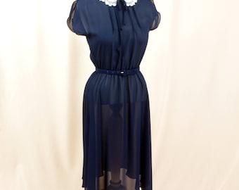 Sheer Navy Blue Dress * Capped Sleeve Dress * Sundress * Summer Dress * Day Dress * Party Dress * 50s Dress * Jonathan Martin Dress