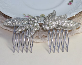 Original Pair Art Deco Fur Clip to OOAK Bridal Hair Combs,Silver Paved Designer Fur Clip,Rhinestone,Vintage Repurposed Dress Clips,Floral