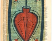 Valentine Sacred Heart - Ex Voto /  Retablo - Vintage Ephemera - Original Art  - Altered - Cathy DeLeRee