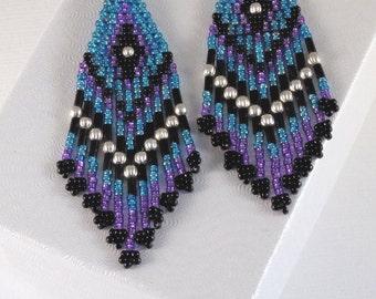 Teal Purple and Black Earrings - Beaded Seed Bead Earrings - Beadwork Earrings - Medium Long Chandelier