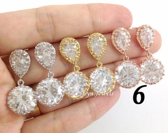 10% OFF Set of 6 Cubic Zirconia Bridesmaids Earrings - Choice of Rose Gold, Yellow Gold, Rhodium Plated CZ Earrings