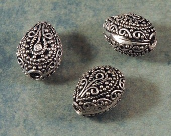 Silver Filigree Teardrop Bead - 15X12X11mm - Bali Style - FOUR Beads