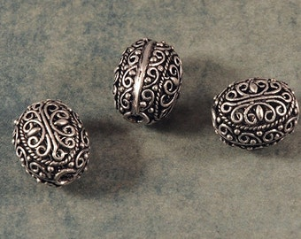 Silver Filigree Oval Bead - 16X13X12mm - Sold by the PIECE