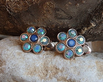 Clip on earrings, Light Blue earrings,Clip on wedding earrings, Bridal earrings, Swarovski clip earrings, Crystal clip on earrings,Wife gift
