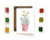 Ferns & Billy Buttons | Watercolor Illustrated Card