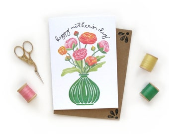 Mother's Day Ranunculus Bouquet | Watercolor Illustrated Card