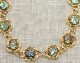 Vintage Gold Iridescent Necklace Stone Imitation Labradorite Opal Floral Chunky Chain  | Costume Jewelry | True Vintage | 1980s 16A