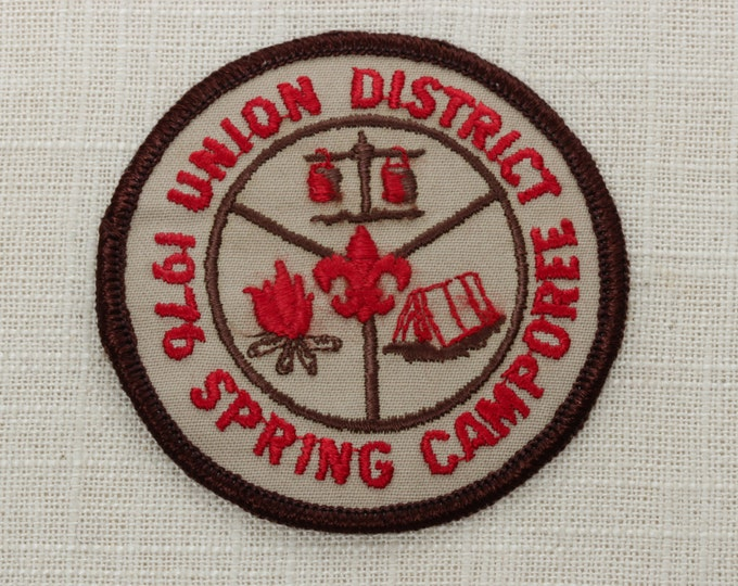 Vintage Sew On Patch Union District 1976 Spring Camporee - Camp Fire Tent Fleur De Lis - Boy Scouts of America