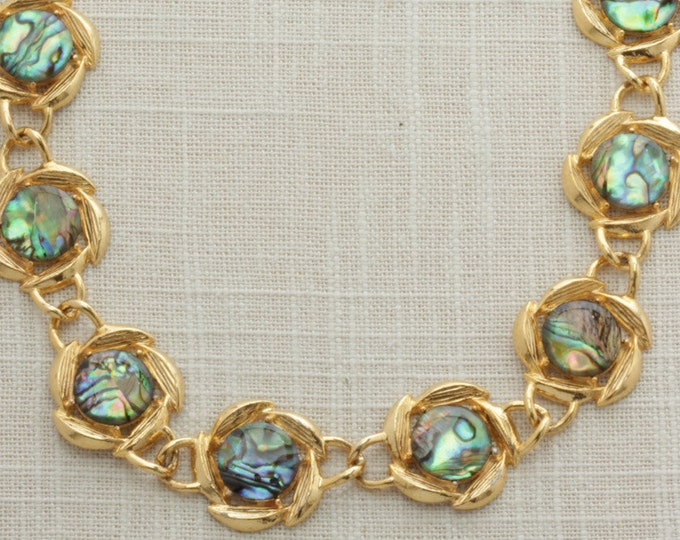 Vintage Gold Iridescent Necklace Stone Imitation Labradorite Opal Floral Chunky Chain    Costume Jewelry   True Vintage   1980s 16A