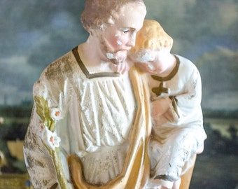 Antique St Joseph Statue with Christ Child, Chalkware