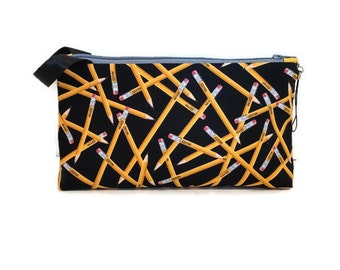 Small Back to School Yellow No. 2 Pencil Toss on Black Zipper Storage Pouch Pencil Case S177