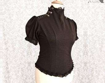 Top black, Victorian shirt, Steampunk, romantic goth, Devota, Somnia Romantica, size large - extra large see item details for measurements