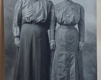 Antique Real Photo Postcard 1911 Two Women in Long Dresses RPPC CYKO Womens Fashion Art Nouveau Hairstyles Woman Power Sisters Photography