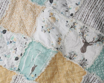 Crib Rag Quilt Baby Boy Crib Bedding Woodland Nursery Blue Yellow Nursery