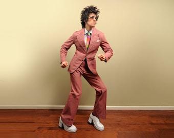 vintage 70s mens denim suit 1970 funky disco suit mauve pink mens suit Campus Jean Blazers flare pant size 40 40R slim slimfit