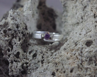 Sterling Silver Simulated Amethyst Ring Purple