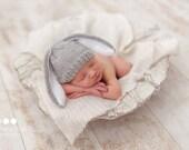 Newborn photo prop, bunny newborn/ baby hat, photography props, newborn boy, newborn girl, newborn hat, knits hat baby, newborn props, baby