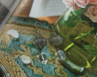 Antiqued silver shell earrings with vintage pressed glass beads, beachy jewelry, seashell jewelry, silver and crystal earrings, vintage bead
