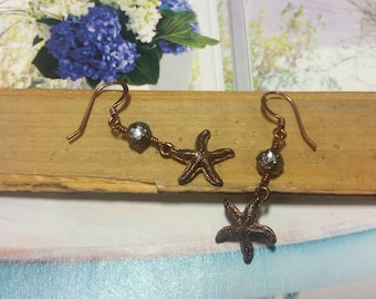 Copper starfish and pearl earrings