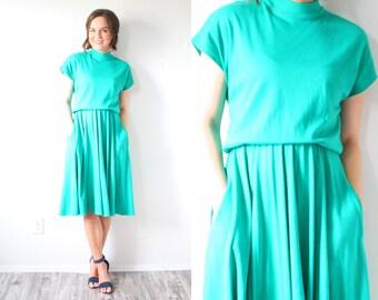 Vintage short sleeve green turquoise dress // mod dress // modest dress // turquoise dress // turtle neck dress // summer spring dress