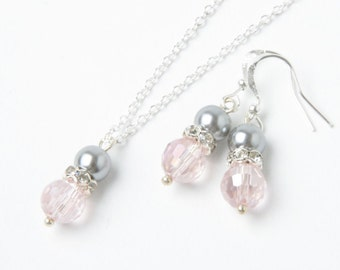Pink and grey bridesmaid jewelry set, Pink earrings and necklace set, pink and grey wedding jewelry, bridesmaid gift pearl jewelry