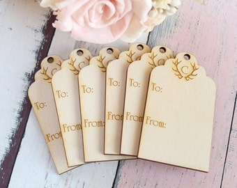 Monogrammed Wood Gift Tag Antler Gift Tag Rustic Holiday Gift Tag Wedding Favors Gift Tag