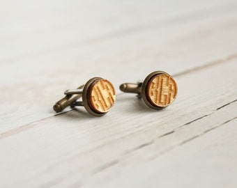Monogram Cuff Links Wood Cuff Links Laser Engraved Cuff Links Circle Monogram Rustic Cuff Links