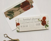 Rose Bridal Shower Invitations, Boho Bridal Shower Cards, Crimson Red, Wine, Burgundy - 6 Colors To Choose From, 3.00/each