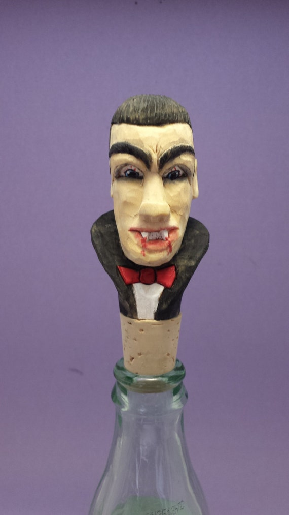 Hand carved bottle stopper spooky Count Dracula Halloween gift wood carving gift for him/her OOAK by Old Bear Woodcarving