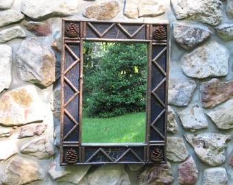Twig and Pine Cone Mirror with Midnight Blue Crackle Finish