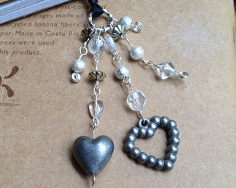 Silver Heart Book Thong Beaded Ribbon Bookmark Valentines Day Mothers Love