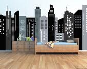 "Custom size Fabric Removable City Buildings Wall Mural -Black City Wallpaper (90""H 177""W) -Wall Mural prt0059"
