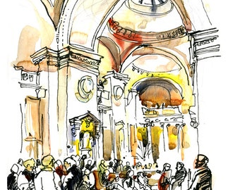 New York City, Metropolitan Museum of Art, Great Hall - print from an original watercolor sketch