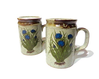 Rare set Handmade Takahashi Vintage Floral Japan Stoneware Salt and Pepper Range Shakers by Counterpoint Blue Poppy echinacea flower roots