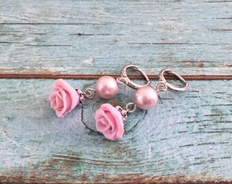 Rose flower earrings - earrings bridesmaids - Jewelry for brides - Wedding earrings - Pink earrings - Bridesmaid gift - Earrings hoops