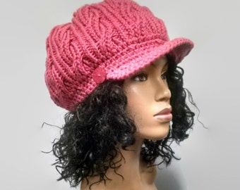 MADE TO ORDER Rose pink hand knit cabled Newsboy Hat/ Slouchy beanie w brim and pink wooden button/ free crochet earrings (not pictured)d)