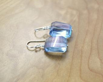 Silvery Blue Mystic Quartz Nugget Earrings - Blue Mystic Quartz, Silver Earrings, Blue Earrings, Faceted Blue Quartz Nuggets, Blue & Silver