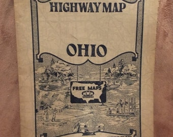 1930's Ohio Highway Map Mid-West Map Company