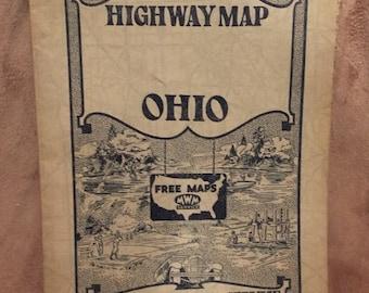Vintage Ohio Map Etsy - 1934 us highways map midwest