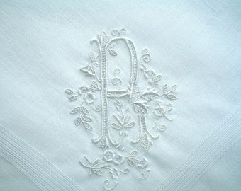 Monogram R Hankie Hand Embroidered Vintage Handkerchief