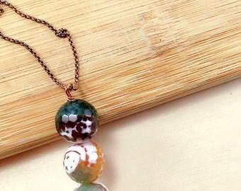 Agate Trio Long Necklace