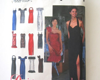 1990s Evening Dress Pattern Simplicity 8970 Womens Halter One Shoulder Strapless Spaghetti Straps Prom Dress Pattern Size 10-14 Bust 32.5-36
